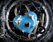 Dolphins, Large Heart Lock, BDSM Lock, Love Lock, locking Jewlery