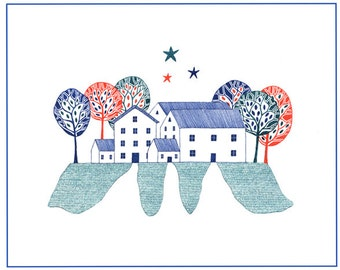 Art illustration of village homes, Scandinavian art, Graphic illustration houses, 10 x 8 art homes, Houses and trees art, Red blue green