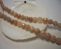 Natural Sunstone beads 6mm, faceted, round beads, beige, peach, tan gemstone beads, 6mm natural gemstone beads, 6mm beads, great quality