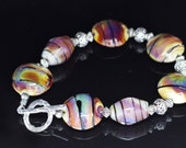 Raku with Black Stringer Lampworking Beaded Sterling Silver Toggle Clasp Bracelet