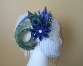 Royal Blue Wedding Fascinator, Peacock Bridal Fascinator, Burlesque Head Piece w/ White Ostrich Feather & Birdcage