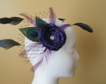 Purple Wedding Hair Flower, Peacock Bridal Fascinator, Flower & Feather Wedding Hair Piece, Head Piece w/ Black French Net