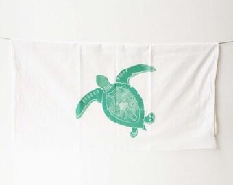 Sea turtle towel, flour sack, beach cottage or coastal home decor - perfect summer or beach gift, kitchen decor, sea turtle decor, tea towel