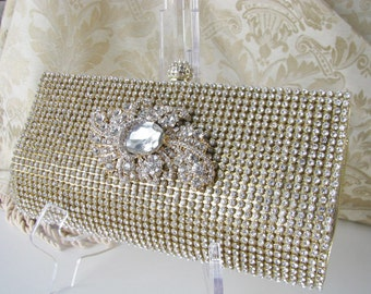 Rich Gold Satin Fabric Wedding Bag Clutch Formal Evening Bag with loads of Austrian Crystals