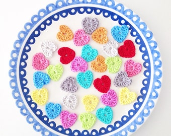 Crochet Heart Motifs - Set of 10 (1.4 inch)