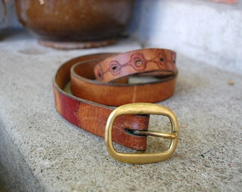 Vtg Womens Large Size 36 Leather Belt Colorful Boho Hippie Hipster Southwestern Native Natural Rustic Browns Bohemian Mexican Ethnic Aztec