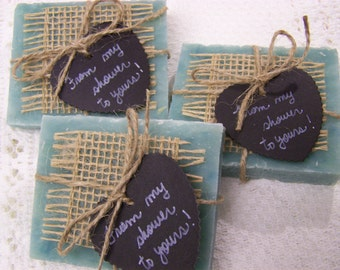 From my shower to yours, 50 Chalkboard style hearts, handmade soaps, Deep Blue Sea - aqua color, bridal shower, wedding favors