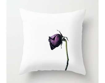 Purple Rose Throw Pillow Cover