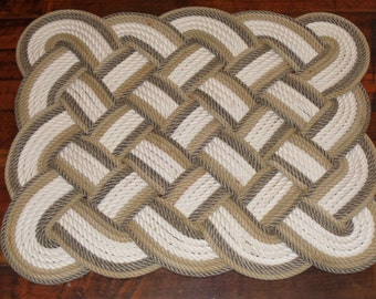 32 x 24 Bathmat Rug Soft Lay Cotton and Natural with Tan Trim Rope Rug Bath Mat Tightly Woven Knotted Nautical Marine Beach Coastal