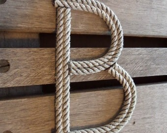"""8"""" Rope Letters Personalize MADE TO ORDER Alphabet Nautical Decor Text Letters Natural or Green Rope"""