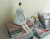 Dollhouse Miniature. Tilda Inspired Doll and Bed. Princess and the Pea