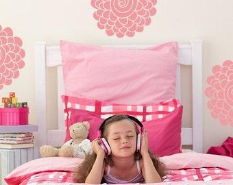 Vinyl Decal Wall Art Sticker Blossom Swirls, Flower Swirl Decals, Girls Floral Decals, Little Girls Flower Stickers