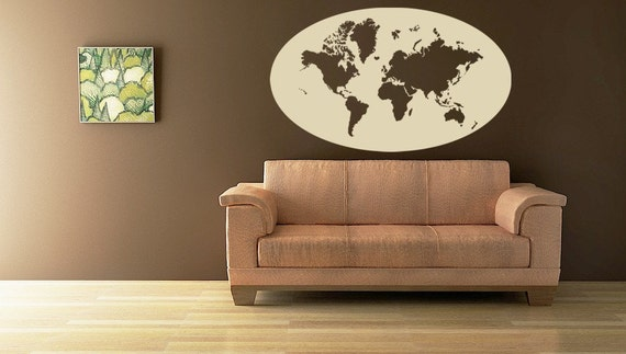 World Map Oval Wall Vinyl Decal Oval Framed World Map Wall Art