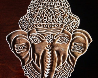 Indian Wood Stamps, Textile Stamps, Pottery Stamps, Blockprint Stamps, Carved Wood Tjaps- Ganesha