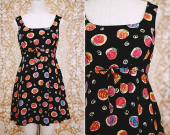 vintage 1990's floral rayon mini dress with bow waist / size s