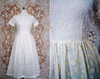 vintage 1950's cream flocked floral organza dress with peter pan collar / size s