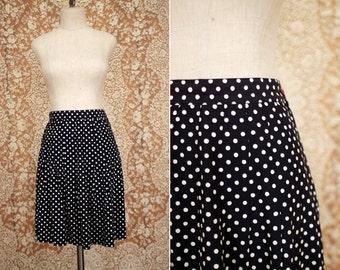 vintage 1980's navy & white polka dot pleated skirt / size s