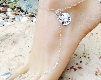 Sterling Silver Wedding Day Adjustable Anklet with Toe Ring. Shoeless Sandal Barefoot Beach Ankle Bracelet Custom Handstamped Name or Date