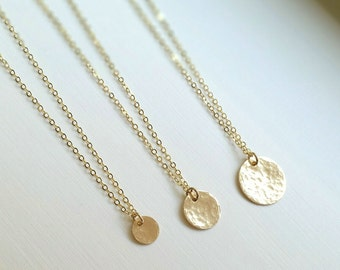 Gold filled Hammered Textured Coin Necklace, Layering Necklace, everyday