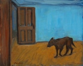 Original Oil Painting-Impressionistic-Dog-Animal-Interior-Still life-Blue-Door-Fine Art Painting-Home Decor-Painterly-8x10-Signed by Artist