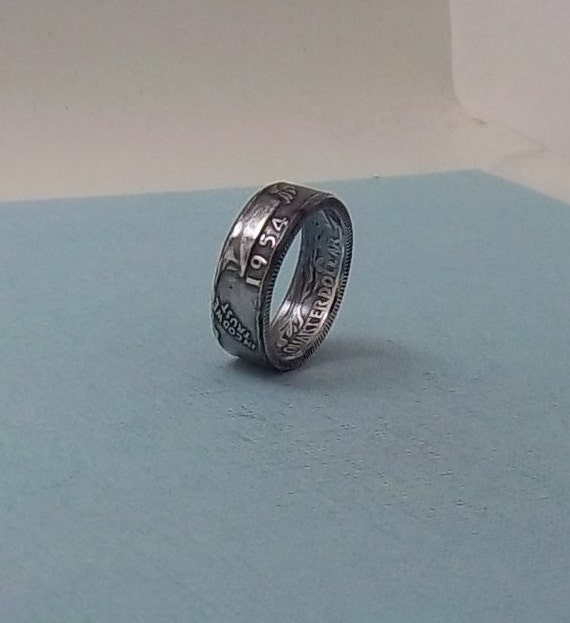 silver coin ring washington quarter year 1954 size 7 by