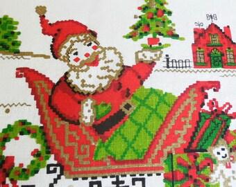 Wonderful Santa Claus Linen Dish Towel / Tea Towel /Faux Sampler