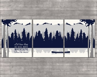 Nursery Wall Art - Mountains - Outdoor Theme - Baby Boy - Navy Blue and Gray - Set of 3 8x10 Digital Files