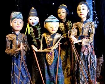 Vintage 1940s  Wayang Golek  Rod Puppets