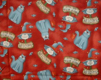 """Halloween Cotton Fabric, Witches, Cats, 1 Yard & 32"""" Continous Piece Listing, Clearance Sale"""