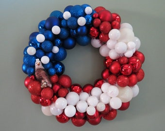 "USA FLAG PATRIOTIC Ornament Wreath 18.5"" wide with Eagle"