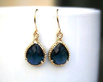 Sapphire Blue Earrings in Gold. Blue Earrings. Sapphire Earrings. Dark Blue.Montana Blue Earrings.Bridesmaid Earrings.Bridal Jewelry.Wedding