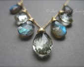 Labradorite and Green Amethyst Necklace, Gemstone Necklace in 14K Gold Fill, Labradorite Jewelry