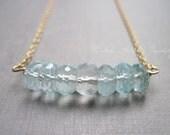 March Birthstone Necklace, Aquamarine Necklace, Gemstone Bar Necklace in 14K Gold Fill, Blue Green Gemstone Necklace
