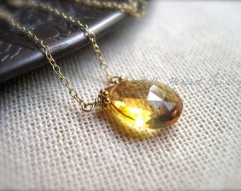 Citrine Necklace, November Birthstone Gold Gemstone Necklace, Yellow Stone Necklace, November Birthday