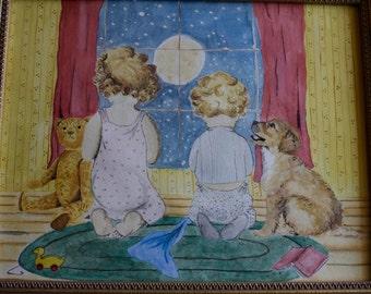 Wishing on Stars Original in Frame, vintage art, original art, art for kids, nursery wall art, nursery art, nursery decor