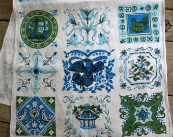 1960s vintage Colonial Early American Americana linen tea towel