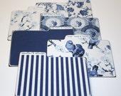 Divider Cards, Set of 6, Blue and White Delft Print Dividers, 4x6 Recipe Divider Cards, Made of Hard Laminate