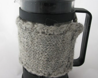 Handspun Handknitted Cafetiere Cosy - Grey/Luxury Knitted Coffee Cosy Cozy/ Natural Gre