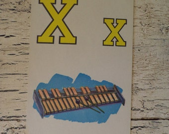 Alphabet Flash Card - Letter  X for Xylophone - 1950s Illustrated School Flash Card