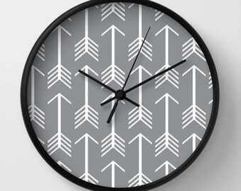 Arrows Wall clock - Arrows Gray and white Wall Clock - Original Design - Home decor by Adidit