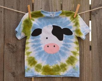 Toddler Boy Tie Dye Cow Short Sleeve T-Shirt