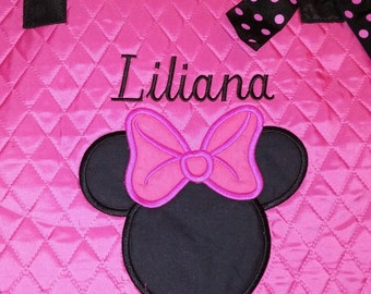 Minnie Mouse Hotpink Quilted Large Tote Bag Custom Embroidery
