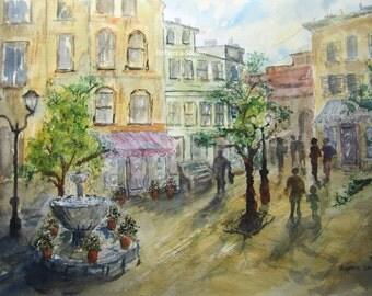 Plaza de la ciudad, imprimir archivo, pintura acuarela, pintura de paisaje, paisaje urbano, pintura ciudad, ciudad acuarela, paisaje urbano