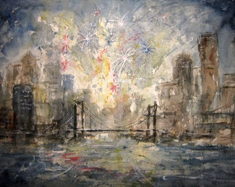 Fireworks, archival print, watercolor landscape, cityscape, New Years Eve painting, July 4th painting, city fireworks, bridge watercolor