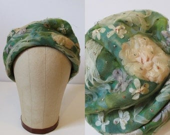 Green & Cream Silk Tulle Floral Toque / 50's / hat accessories flowers gypsy