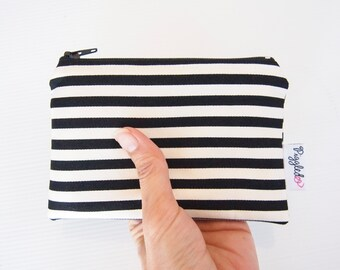 Mini Wet Bag / Coin Purse / Makeup Bag with Waterproof Lining - Black and White Stripe