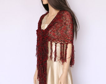 Fringe knit shawl , Gypsy knit wrap shawl , Bohemian clothing Red shawl with a touches of gold and black