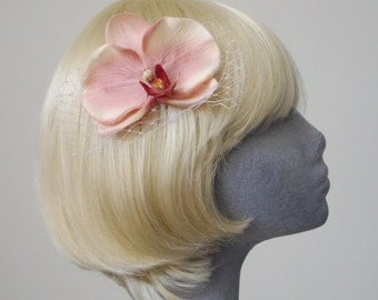 Pink Flower Hair Comb - Vintage Pink Orchid Hair Comb