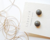 Gray Glass Earrings Studs Kilnformed