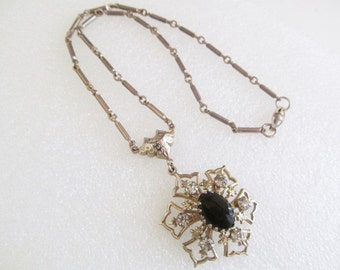 Vintage Silver Tone Rhinestone Black Cabochon Necklace , Choker
